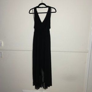Gorgeous Black High Low Romper Dress